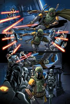 These are some pages from Star Wars The Force Unleashed The graphic novel. Line Art by Me Colors by the Amazing Diego Rodriguez. Boba Fett Mandalorian, Jango Fett, Star Wars Boba Fett, Star Wars Fan Art, Star Trek, Boba Fett Comics, Arte Nerd, Star Wars Wallpaper, Star Wars Poster