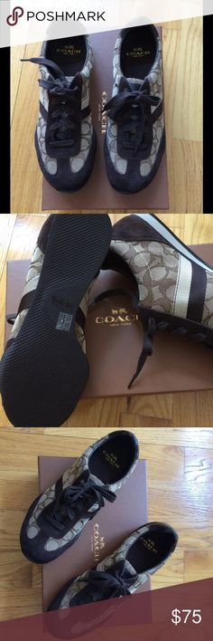 Kelson khaki/chestnut Coach sneakers brown Khaki/chestnut kelvin outline sig/ suede coach sneakers. New never worn, I bought for my daughter from Saks. She tried it and didn't like so it's New . Size 8.5 Coach Shoes Sneakers