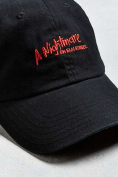 A Nightmare On Elm Street Dad Hat Nightmare On Elm Street, Dad Hats, Baseball Cap, Urban Outfitters, Dads, Embroidery, Stitch, Cotton, Shopping