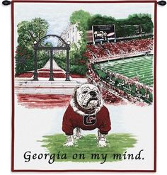This Georgia Bulldogs Tapestry Wall Hanging is a captivating depiction of the University of Georgia campus and Georgia's famous mascot, UGA. Univ Of Georgia, Georgia Girls, Georgia On My Mind, University Of Georgia, Athens Georgia, Georgia Bulldogs Football, Panthers Football, Down South, Wall Tapestry
