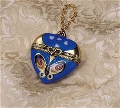 Limoges Butterfly Heart Pendant Box The Cottage Shop