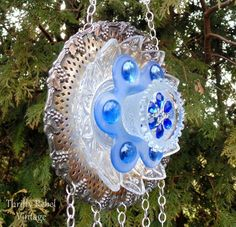 how to make a garden plate flower wind chime, crafts, gardening, how to, repurposing upcycling