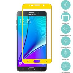 Yellow Tempered Glass Film Screen Protector Colored for Samsung Galaxy Note 5