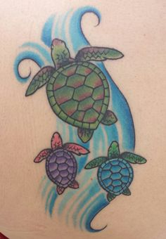 Hawaiian sea turtle tattoo mom with babies