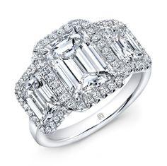 3 Stone Emerald Cut Ring - 3 Stone Emerald Cut Diamond Ring with round melee diamonds all around in platinum.