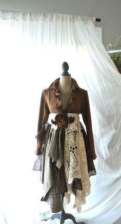 victorian coat bohemian duster rustic brown by TrueRebelClothing, $120.00
