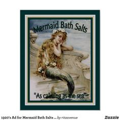 1920's Ad for Mermaid Bath Salts 16x20