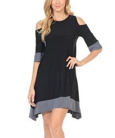 Look what I found on #zulily! Black & Gray Cutout A-Line Dress #zulilyfinds