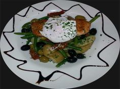 Warm Scottish Salmon Nicoise with Kalamata Olives, Beans, New Potatoes, Poached Egg, Sun-blushed Tomatoes in an Olive Lemon Garlic Dresssing. http://www.viaducthanwell.co.uk
