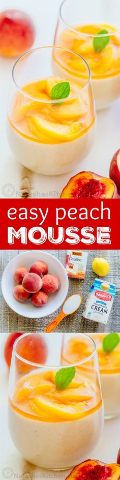 ***Easy Peach Mousse ~ is loaded with fresh peaches - more than 1 lb goes into making this peach cream dessert so it actually tastes like peaches! Jello Recipes, Best Dessert Recipes, Unique Recipes, Sweet Desserts, Easy Desserts, Delicious Desserts, Yummy Food, Gelatina Jello, Peach Mousse