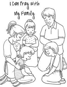 Family Praying Coloring Page