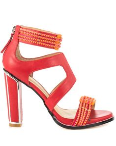 Gx By Gwen Stefani 'Ash' Tomato Red Faux Leather Sandal with contrasting braided straps and chrome-trimmed block heel
