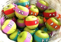ninja turtle birthday party ideas (turn apples into ninja turtles! awesome healthy foo/snack/giveaway for a Ninja Turtle party! Ninja Turtle Party, Ninja Party, Ninja Turtle Birthday, Ninja Turtles, Ninja Turtle Games, Superhero Party, Turtle Birthday Parties, Birthday Fun, Classroom Birthday Treats
