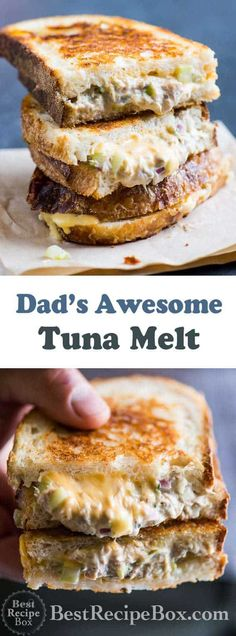 Grilled tuna cheese sandwiches aka grilled tuna melt sandwiches are awesome. Dad's best grilled tuna melt sandwich recipe with tuna salad, cheese and crust bread Sandwich Bar, Tuna Melt Sandwich, Roast Beef Sandwich, Grill Cheese Sandwich Recipes, Tuna Melts, Healthy Sandwiches, Tuna Recipes, Gourmet Recipes, Cooking Recipes
