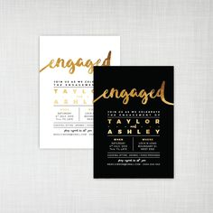 Modern Gold Foil engagement party printable/digital or printed invitation - black or white with gold effect brush script by cartamodello on Etsy https://www.etsy.com/listing/244380440/modern-gold-foil-engagement-party