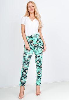 Kvetované tyrskysové 7/8 nohavice - ROUZIT.SK Parachute Pants, Pajama Pants, Pajamas, Spandex, Fashion, Pjs, Moda, Sleep Pants, Fashion Styles