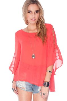 Climbing to the Top Blouse in Coral $44 at www.tobi.com