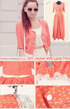 13 Awesome DIY Projects - DIY Jacket With Lace Trim