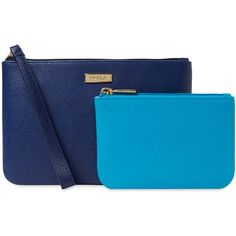 Furla Kate Leather Envelope Pouch Set - Blue ($89) ❤ liked on Polyvore featuring bags, handbags, clutches, blue, genuine leather purse, real leather purses, blue handbags, blue leather purse and furla
