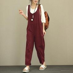 Oversized Women Linen Jumpsuit Celmia 2018 Summer Vintage Solid Romper Sleeveless Pockets Casual Loose Trouser Plus Size Overall Vintage Overall, Salopette Jeans, Vintage Jumpsuit, Vintage Pants, Vintage Linen, Vintage Cotton, Cotton Jumpsuit, Cooler Look, Feminine Fashion
