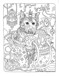"""Creative Haven Dazzling Dogs Coloring Book by Marjorie Sarnat, """"Poochi"""""""