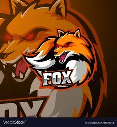Angry fox mascot logo design vector image on VectorStock Angry Fox, Game Logo Design, Esports Logo, Fox Logo, Photo Logo, Animal Logo, Furry Art, Cool Art, Raccoons