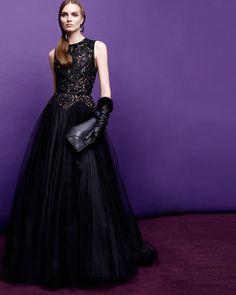 Elie Saab  Beaded Contrast Tulle Gown, Black