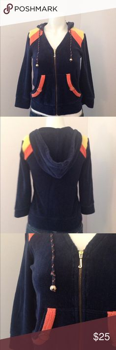 Juicy couture velour hooded sweatshirt size small Juicy couture velour hooded sweatshirt size small. 3/4 length sleeves. Navy blue, orange and yellow with gold tone hardware. Cotton, polyester blend Juicy Couture Tops Sweatshirts & Hoodies