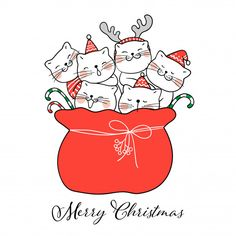 merry christmas Draw cute cat in red bag Santa Claus for Christmas Premium Vector Hygge Christmas, Christmas Doodles, Christmas Drawing, Noel Christmas, Christmas Cats, All Things Christmas, Vector Christmas, Illustration Noel, Christmas Illustration