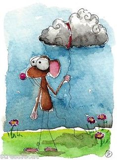 ACEO Original Watercolor Folk Art Illustration Whimsical Mouse Dark Cloud   eBay