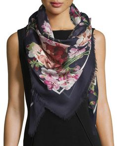New+Blooms+Square+Shawl,+Blue/Pink+by+Gucci+at+Bergdorf+Goodman.