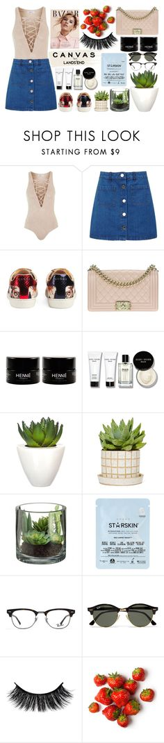 """Untitled #304"" by dragansabina on Polyvore featuring Topshop, Miss Selfridge, Gucci, Chanel, Bobbi Brown Cosmetics, Pomax, Starskin, Lands' End and Ray-Ban"