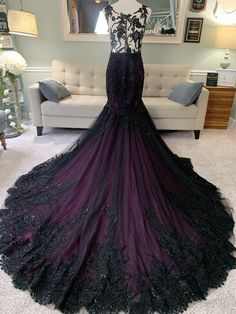 Black Wedding Gowns, Custom Wedding Dress, Purple Wedding Gown, Lace Wedding, Beautiful Wedding Dress, Dark Purple Wedding, Beautiful Dresses, Dream Wedding, Wedding Shit