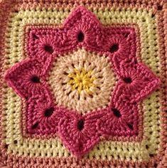 Transcendent Crochet a Solid Granny Square Ideas. Inconceivable Crochet a Solid Granny Square Ideas. Crochet Flower Squares, Crochet Square Blanket, Granny Square Crochet Pattern, Crochet Blocks, Afghan Crochet Patterns, Crochet Motif, Crochet Flowers, Crochet Stitches, Moogly Crochet