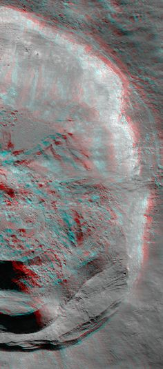 NASA / GSFC / Arizona State University Thales Crater (Anaglyph) A Lunar Reconnaissance Orbiter view of the eastern part of Thales Crater. The rugged landscape is viewable in 3D using red-blue glasses. The full crater is about 32 kilometers from rim to rim.