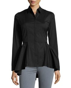 Marled by Reunited Clothing Peplum Button-Down Blouse, Black  New offer @@@ Price :$119 Price Sale $85