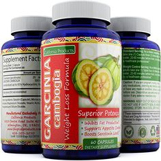 Garcinia Cambogia Raw 95% HCA Extract Weight Loss Pills for Women and Men - 60 Capsules By California Products