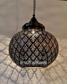 amazing detail on this Moroccan pendant light. hand-pierced, made of solid brass in dark bronze finish