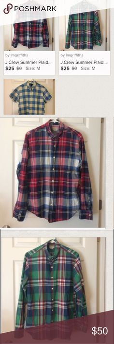 J.Crew Men's Medium Plaid shirt bundle save money! Bundle of 3 men's JCrew Plaid shirts - one short sleeve and two long sleeve. Please see additional listings for more details. Please ask any questions before purchasing. J. Crew Shirts