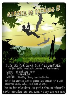 Zip Line Invitation Party Zipline Birthday Invitations Invite