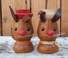 Vintage salt and Pepper shakers wooden bunny by spankyluvsvintage