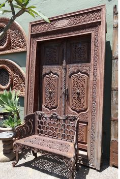 Antique Carved Wood Doorway / Frame with intricate carving.  India.
