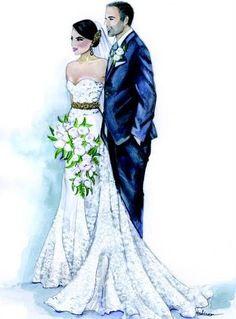 Custom WWedding Illustration Bride Groom by loveillustration