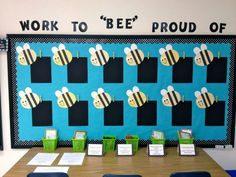 This is a nice bulletin board for open house. Each student makes a bee and then…