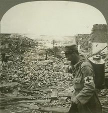 WWI; Sanitary Work - Disinfecting the Ruins With Patent Spray - Stereoview
