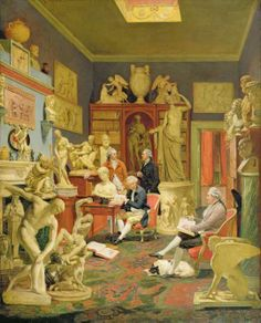 Charles Townley and friends in his library at Park Street, Westminster by Johann Zoffany. The painting was started in 1781 but was not completed until 1790, when it was displayed at the Royal Academy exhibition. Discobolus was Townley's last purchase in 1794 and was added to the painting in 1798.