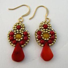 Coral Earrings Coral and Yellow Boho Earrings by ShegoAndHen