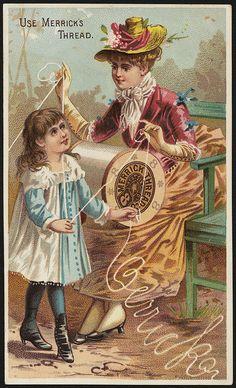 Late 1800s Merrick's Thread Trade Card