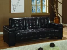 Dark Brown Vinyl Sofa Bed