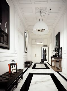 Interior design ideas - black modern bench - Atlanta Interior Designer - black and white interior design - Atlanta Interiors - Atlanta Home Decor - Interior Design Inspiration - entryway ideas - tile ideas - ceiling design ideas - modern art ideas House Design, Interior, Floor Design, Home, White Floors, White Decor, House Interior, White Interior, French Apartment